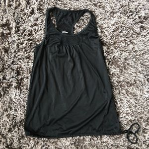 Danskin dry more tank top shirt black drawstring S